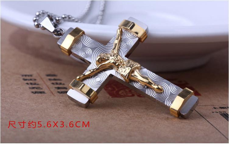 Мода иисус крест ожерелье с цепочкой, позолоченный титан ста.