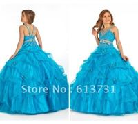 .Wholesale - 2012 Sexy New Halter Organza Beading Pick- up Bow Ball Gown pink/blue Flower Girl Dresses PT1404
