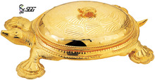 Turtel Shape Food Stand / Unique Gold Plated Food Tray With Stand To Banquet