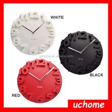 UCHOME 3D Number Clock, Home Decor Creative Mute 3D Number Dome Round Wall Clock