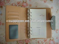 business notebook with card holder,business meeting organizer notebook