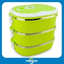 Three layer stainless steel plastic food container