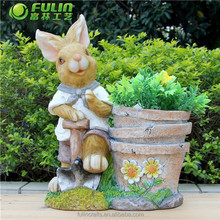 Polyresin Rabbit Resin Animal Flower Pot