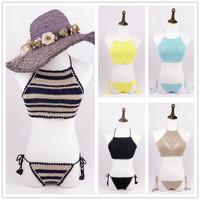 handmade crochet bikini 2015 beach swimsuit push up swimwear