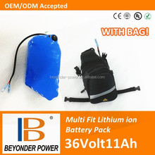 CE UL approved, high quality electric bicycle scooter lithium battery, li-ion 36V11Ah made by samsung cells