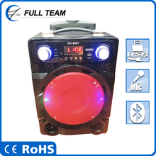 6 inch Factory direct selling rechargeable outdoor square high power professional active battery speaker with USB/SD/FM/Handle