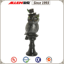 "17.1"" wearing hat owl resin craft, standing on black pillar resin owl sculpture for sale"