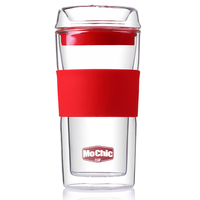 Blown 300ml High Borosilicate Glass Double Wall Cup With Lid, Non-slip Drinking Mug With Silicone