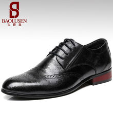 Men's Fashion Loafers Style Brogue pure Leather dress shoes