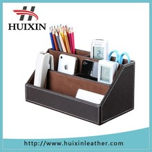 Home offfice leather multi-function desk stationery organizer storage box, pen/pencil ,cell phone holder