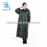 Ladies long raincoat with hood / manufacturer hot sale long raincoat from shanghai port