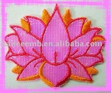 beautiful lotus flower embroidered patch with iron on backing