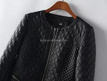 fashion winter women PU leather jacket coat and cotton-padded clothes and Plaid leather jacket for girls