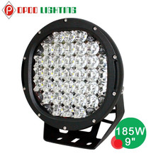 2015 hot sale round car 9inch 185w high lumens 12v led driving lights with flood cover
