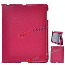 Carrying Leather Case Stand Cover for iPad 2(Hot Pink)
