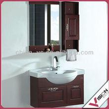 Dark brown wooden dark bath cabinet sets