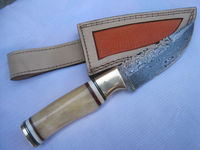 ASTONISHING RARE TRUE DAMASCUS HUNTING KNIFE,EXCELLENT BONE HANDLE WITH SPACERS