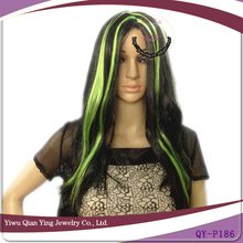 cheap long colorful synthetic halloween party wig