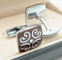 Exquisite Metal Alloy Cufflinks with Epoxy and Color Painting
