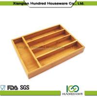 Hot Sell Cutlery Bamboo Box set,kitchen cutlery tray Bamboo Kitchen Drawer Organizer