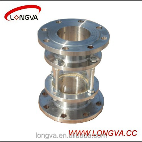 Sanitary stainless steel straight flanged sight glass