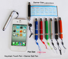 hot selling advertisting keychain touch pen,banner ball pen