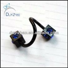 fashion black diamond spiral eyebrow piercing body jewelry