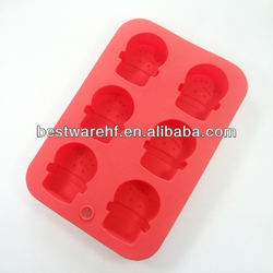 silicone Gingerbread Men mould 6 Snowman cake pan FDA silicone microwave cooking pan