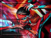 Dafen Modern Custom Wall Art Handmade Colorful Figure Oil Painting Canvas Artwork