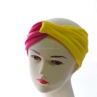 Wholesale Custom Classic Cotton Two-Tone Cross Yoga Sport Elastic Head Band Hair Band