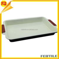 Carbon steel square shallow baking pan non-stick pan teflon baking pan with silicon handle