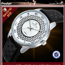 SKONE 9189 White Dial Black Genuine Leather Band best selling watch