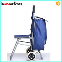 Supermarket foldable trolley shopping bags with chair, Portable vegetable trolley bag
