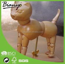 BN-C-06 retail sculpture carved painted wooden animal cat decoration for art