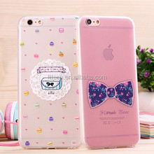 Cell phone accessory Ultra Thin Clear Crystal Gel Soft TPU Case Cover 3d flower case for iphone 6 4.7' alibaba china