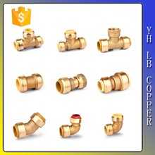"LinBo LBC211 3/4"" x 3/4"" x 1/2"" lead free Brass pipe Push Fit Fittings - Slip Tee Connector"