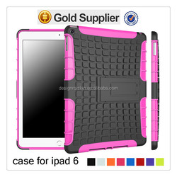 Hybrid Rugged Cover Case Dual Layer Combo Case for ipad 6 with kickstand