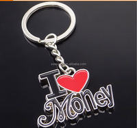 free shipping Wholesale and OEM zinc alloy red heart letter Keychain for promotional