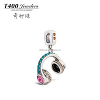 T400 2015 new Fashion joyas 925 sterling silver crystal from swarovski elements Headphone bead Q162