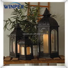 S/3 Assorted Size Classic Vintage Moroccan Garden Candle Lantern With Glass Panels,Hollow Floral Design Roof Candle Lantern