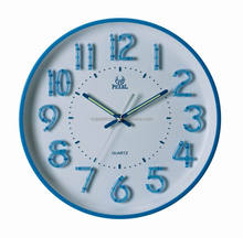 PEARL PW253 round quiet sweep wall clock 3D luminous numbers
