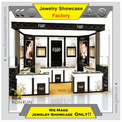 Jewelry display showcase kiosk in shopping mall Edgy elegant jewelry store overall decoration