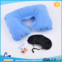 Wholesale soft 3-piece travel kit pillow eye mask for airline