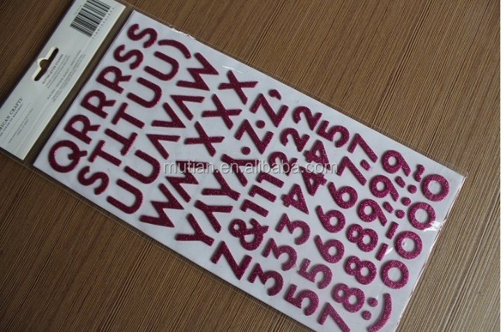 colored glitter letter number stickers With colored letter stickers