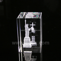 2015 Pujiang Xyer 3d laser crystal cube the statue of liberty photo