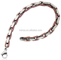 5mm Stainless Steel and Rose Plated Anchor Link Bracelet - 7.5 Inch