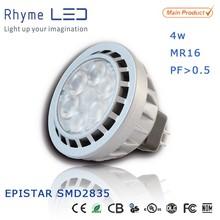 Low heat led small indoor spotlights led 4w mr16 spotlight with PF>0.5