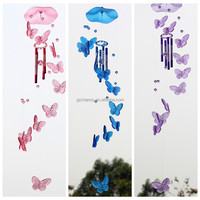 1PC Beautiful Butterfly Acrylic Wind Chime Outdoor Indoor Garden Sound Large Ornament home handcraft decor