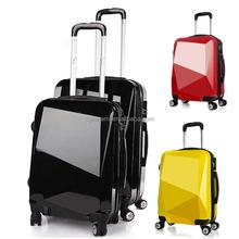 diamond shape shining color ABS+PC travel trolley luggage bag