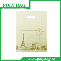 logo printed custom white packing shopping plastic bag clothing